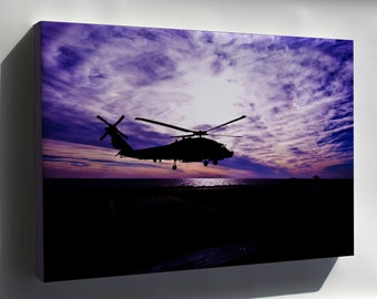 Canvas 24x36; Sh-60 Sea Hawk Helicopter At Sunset
