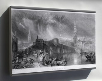 Canvas 24x36; Inverness Scotland Engraving By William Miller 1836