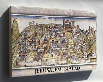 Canvas 16x24; Jerusalem From Nuremberg Chronicles 1493