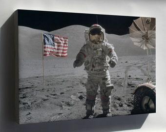 Canvas 16x24; Apollo 17 Moon Landing Cernan On The Moon