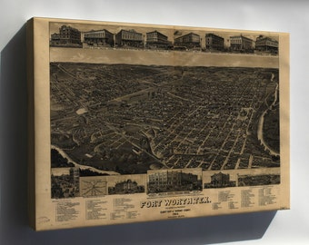 Canvas 16x24; Map Of Fort Worth Texas 1886
