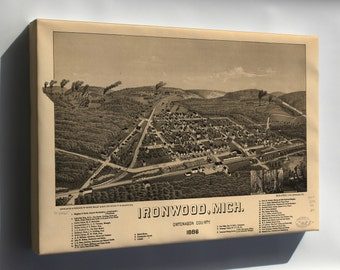 Canvas 16x24; Map Of Ironwood, Michigan 1886