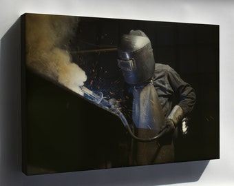 Canvas 16x24; Welder Making Boilers For A Ship, Combustion Engineering Co., Chattanooga, Tenn