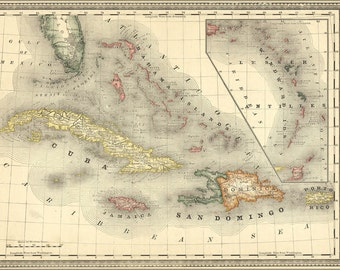 16x24 Poster; Map Of The West Indies Cuba Caribbean 1881