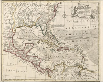 16x24 Poster; Map Of The West Indies Cuba Florida Mexico 1752