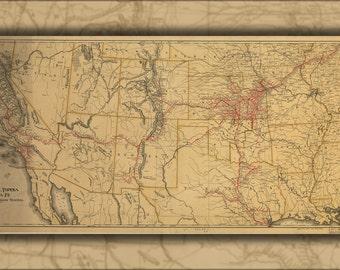 16x24 Poster; Map Atchison Topeka & Santa Fe Railroad 1899 P10