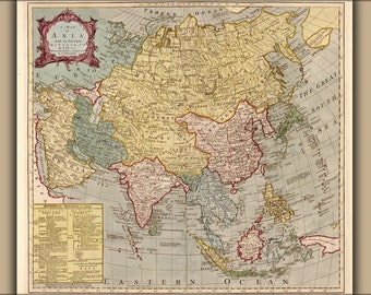 16x24 Poster; Map Of Asia 18Th Cent. India Japan China Russia
