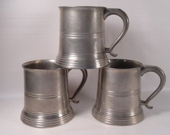 SALE!!!    Manning, Bowman & Co Pewter Tankard with Glass Bottom Three Available