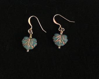 Tiny Glass Leaf Earrings