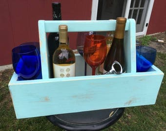 Wine Tote/Carpenters Tool Box 20 Inches Long/garden Tote/tool Caddy/