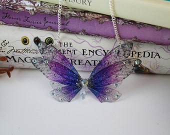 Blue and Purple Flower Fairy Wing/ Butterfly/Cicada Wing Necklace