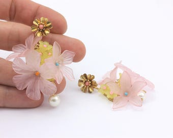 Floral Statement Earrings with Swarovski Pearls and Lucite Flowers, Handmade Fashion Jewelry by Detail London.