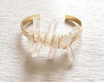 Crystal Cuff Bracelet, Quartz Cuff Bracelet, Crystal Bracelet, Clear Crystal Point Bracelet, Clear Quartz Bracelet, Clear Quartz Cuff