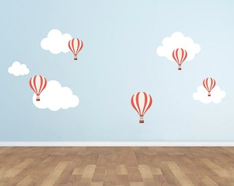 Hot Air Balloon and Clouds Wall Decal Set - Clouds Wall Decals - Hot Air Balloon Decals - Kids Vinyl Decal - Kids Room Decal