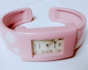 Fun Bubble Gum Pink with White Polka Dots 1980's Enameled Cuff Watch Small