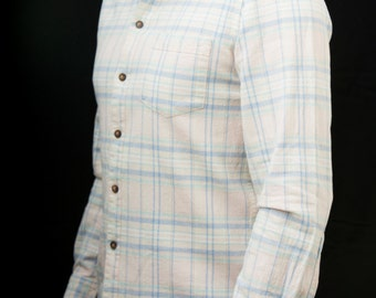 Men's medium Linen/cotton mix shirt- pastel green and blue on cream with a light peach pink toning