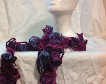 Multi-Pink and Purple Ruffle Scarf