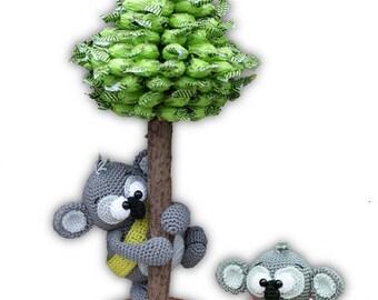 little koalas with eucalyptus tree - crochet pattern by mala designs