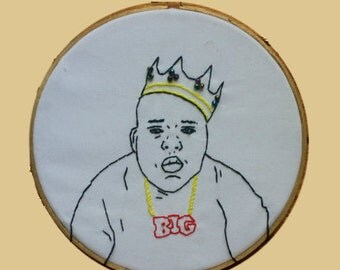 "BIGGIE SMALLS 6"" embroidered wall hanging"