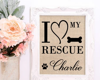Animal Lover Gift, Custom Animal Rescue Sign, Personalized for Dog or Cat with Pet Name and Optional Breed Name, Boxer, Terrier, Ragdoll