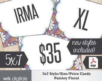 5x7 Signs, Size Card, Style Cards, Price Sign, Fashion Consultant, Paisley Floral Design, PRINTABLE, INSTANT DOWNLOAD