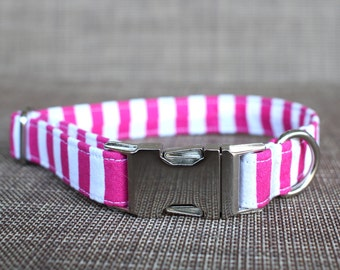 Pink and White Stripes Collar