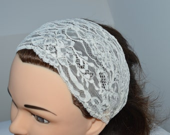 Clearance 30% headband lace ivory wedding, ivory lace headband, lace headband, turban lace