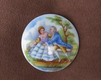 Delightful Limoges Broche Porcelain Plaque