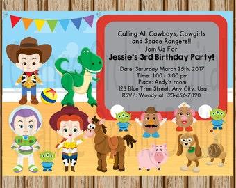 """Toy Story Birthday Invitations- Toy Story Birthday Party- Buzz, Woody, Jessie Birthday Invitation - 5"""" x 7"""" size- Digital- Print at Home"""