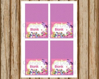 INSTANT DOWNLOAD- My Little Pony Food Labels- Blank Buffet Labels- Pony Place Cards- Table cards - 8.5 x 11 size- Print Your Own- Digital