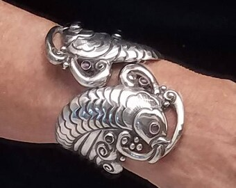 Vintage EDP Koi Carp Fish Clamper Cuff Bracelet - Taxco Sterling Silver With Amethyst - in Book