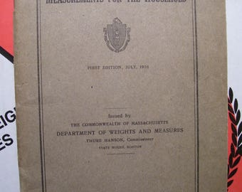 1916 Measurements For The Household Commonwealth Of Massachusetts Publication 1st Edition
