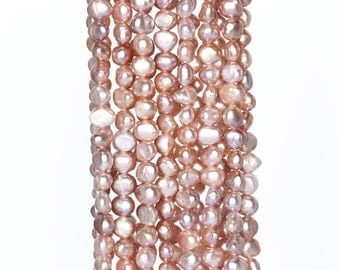 2199_Baroque pearls 7-8x6-7mm,Pink pearls,Pearls beads for jewelry,Misty rose pearls,Real pearls beads for jewelry,Natural freshwater pearls