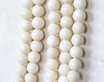 2350_Natural coral 8 mm, Round beads, Ivory coral beads, Coral gemstones, Round beads, Natural white coral, Round coral,  Ivory stone beads.
