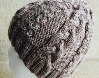 Hand knitted wool blend Man beanie, winter hat, cable knit hat