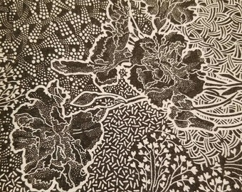 """Vintage black & white floral cotton fabric 3 yards 44"""" wide VF2"""