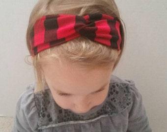 Buffalo plaid toddler and baby turban headband, twisted headband, headband, all sizes!