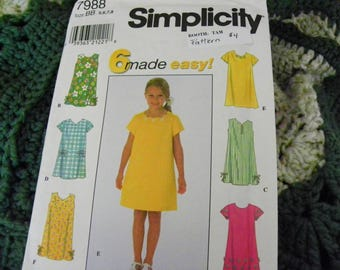 Vintage Sewing Pattern - Simplicity 7988 - Child's Dress - 6 Made Easy! -  Size BB 5, 6, 7, 8