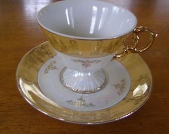 Vintage Japan Teacup & Saucer Yellow White  Gold