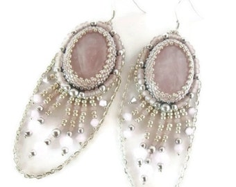 Silver and Pink embroidered earrings, Romantic Earrings, Bride earrings