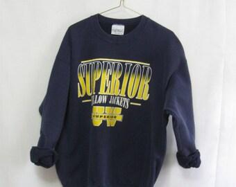 Vintage Adult XL University of Wisconsin SUPERIOR Yellow Jackets Sweatshirt Unisex Tomboy Boyfriend Sweatshirt  SEE Details