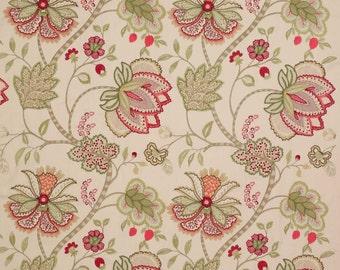 COLEFAX & FOWLER JACOBEAN Baptista Embroidered Linen Fabric 10 Yards Rose Green Cream