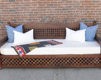 Mousharabi Daybed, Daybed Sofa , Moroccan Daybed , Outdoor Daybed, Lounge Daybed, Teak Daybed, Boho Daybed Sofa, Carved Indian Daybed,