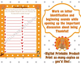 Thankful Alphabet PDF, Thanksgiving Printable, Beginning Sounds Practice, Thankful Writing, Printable Worksheet, Preschool Kindergarten