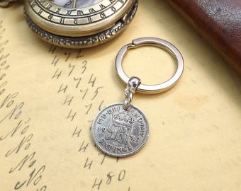 Genuine 1947 UK Lucky Sixpence Coin Keychain 70th Birthday