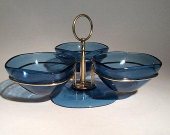 Vintage Vereco France Blue Glass Three Bowl Condiment Serving Set