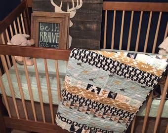Baby Quilt   Handmade Crib Quilt Baby Boy Quilt Baby Shower Gift Woodland Nursery Crib Bedding Navy Deer Arrows Rustic Gender Neutral