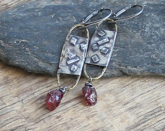 Sterling silver raw garnet earrings mixed metal earrings metalwork earrings raw sterling silver artisan jewelry bohemian rought earrings