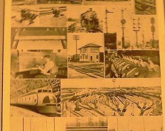 1943 Railroad Trains & Equipment Matted Vintage Print