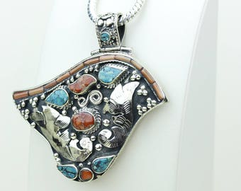 Inlay Work! Turquoise Coral Native Tribal Ethnic Vintage Nepal Tibetan Jewelry OXIDIZED Silver Pendant + Chain P3992
